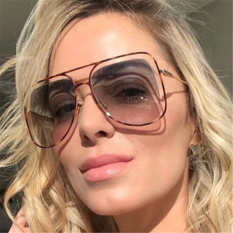 Vazrobe Oversized Sunglasses Women Fashion Female Shades Aviation Vintage Sun Glasses for Woman Gradient Steampunk Leopard