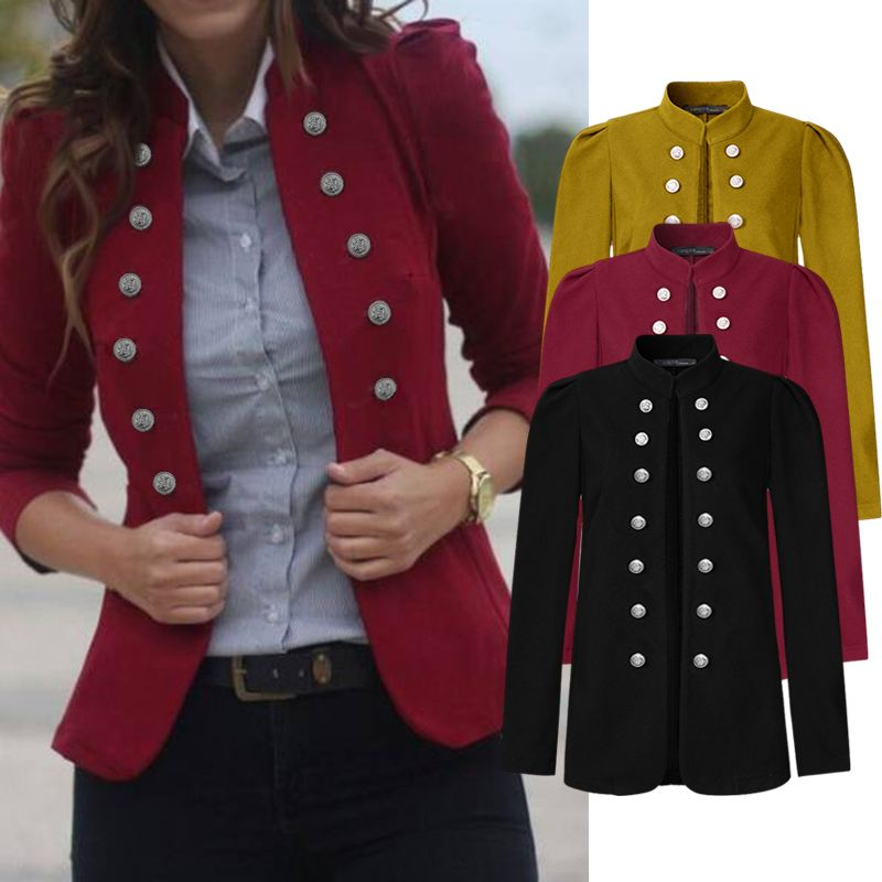 ZANZEA 2020 Fashion Women's Autumn Coats Casual Solid Buttons Jackets Long Sleeve Outwear Vintage Loose Stand Collar Overcoats title=