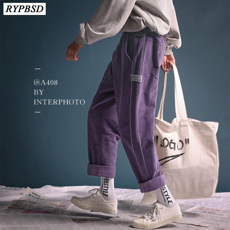 New 2019 Retro Style Men Corduroy Pants Zipper Fashion Casual Straight Warm Streetwear Loose Striped Pants Men Harajuku M-2XL
