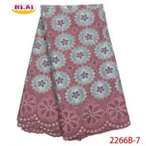 Image 1 - Hot Sale Vải Ren Cotton Phối Ren Cao Fabr Hành Tây Nigeria Vải Ren Châu Phi Váy Đầm Cho Nữ NA2266B 2