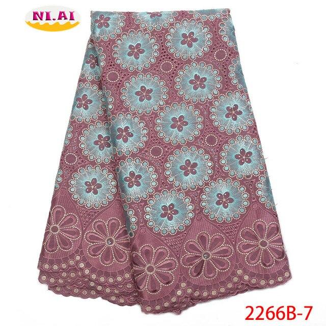 Hot Sale Vải Ren Cotton Phối Ren Cao Fabr Hành Tây Nigeria Vải Ren Châu Phi Váy Đầm Cho Nữ NA2266B 2