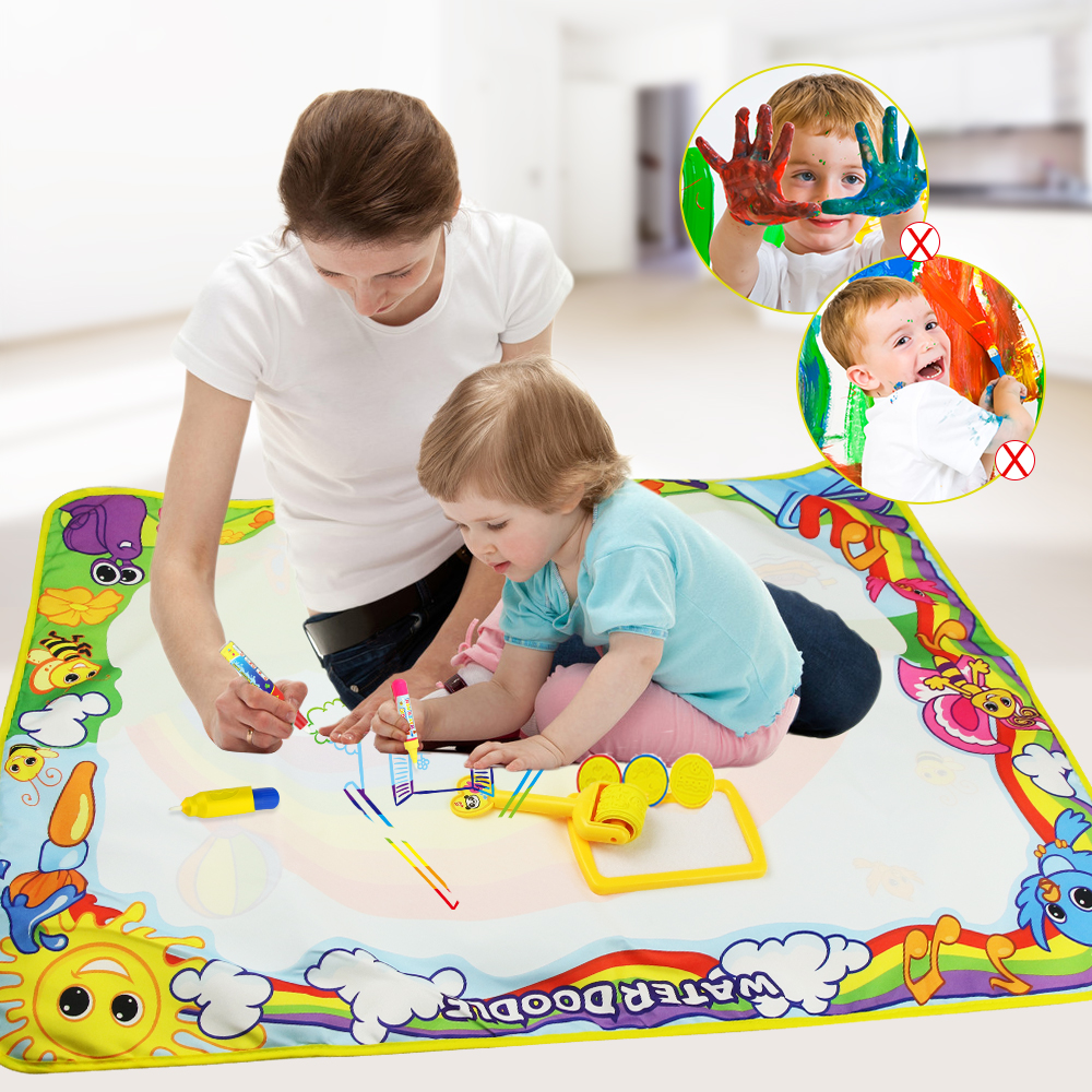 6 Types Magic Water Drawing Mat With Pens & Stamps Painting Board In Drawing Toys Big Size Canvas Doodle Mat Educational Toys