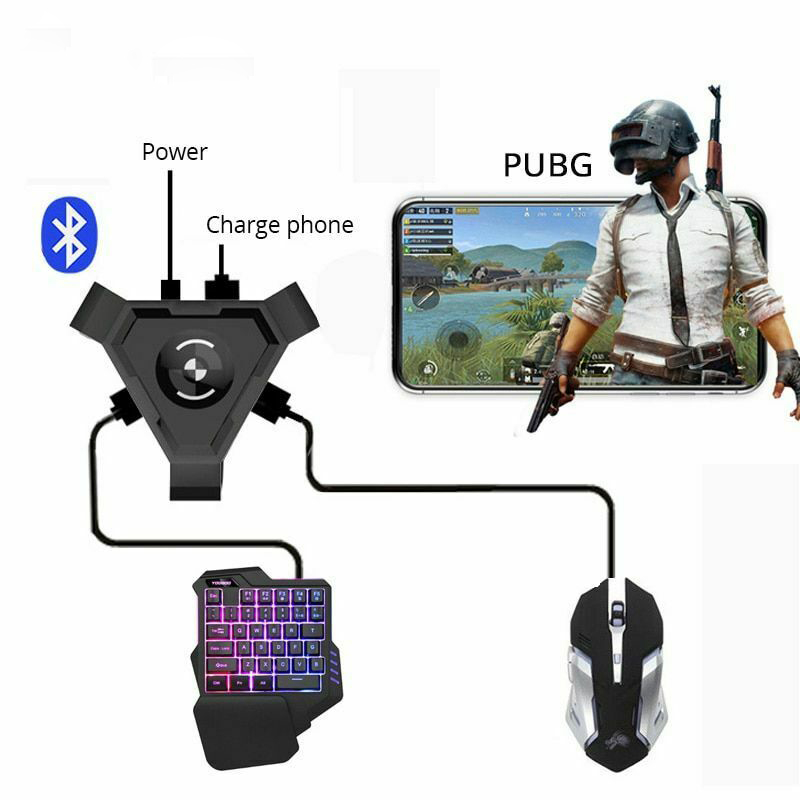 Bluetooth 4.1No Vibration Black USB Phone Mobile ABS Converter Gamepad Controller Set PUBG PC Adapter Gaming Keyboard Mouse