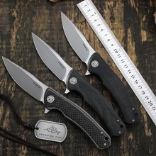 Folding Knife Ceramic-Ball-Bearings Hunting-Knives G10-Handle Steel-Blade Petrified Carbon-Fiber