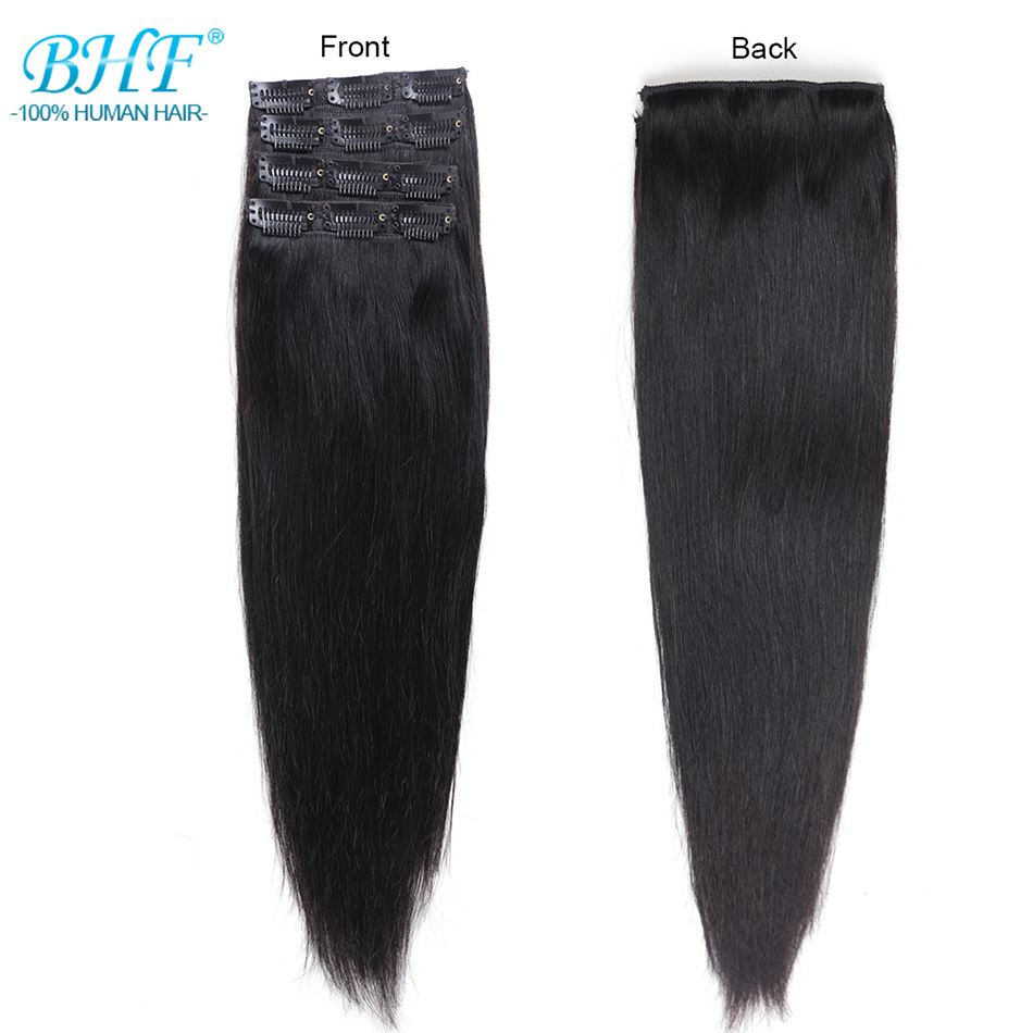 BHF 3 Pieces Clip In Human Hair Extensions Straight Machine Made Remy Hair Extension Clips 1b# 2# Dark Brown 30g 90g