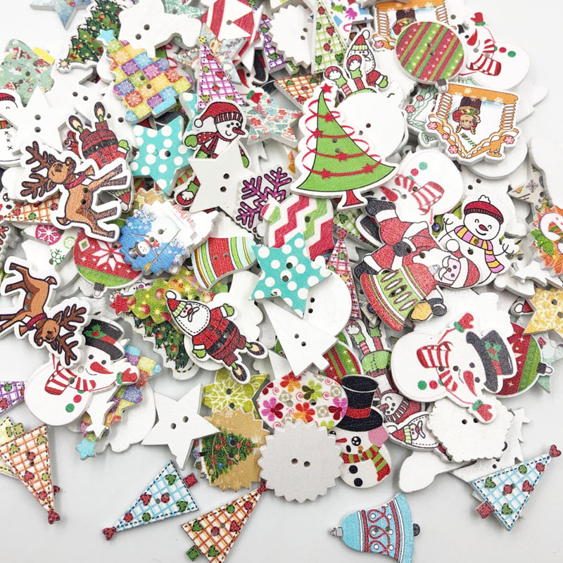 50pcs Mix Merry Christmas Tree Decorative Buttons 2 Holes Wood Buttons Fit Scrapbooking Crafts Diy Wb648