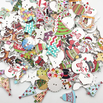50pcs Mix Merry Christmas tree Decorative Buttons 2 Holes Wood Buttons Fit Scrapbooking Crafts DIY WB648 multicolor 50pcs 2 holes mixed animal wooden decorative buttons fit sewing scrapbooking crafts