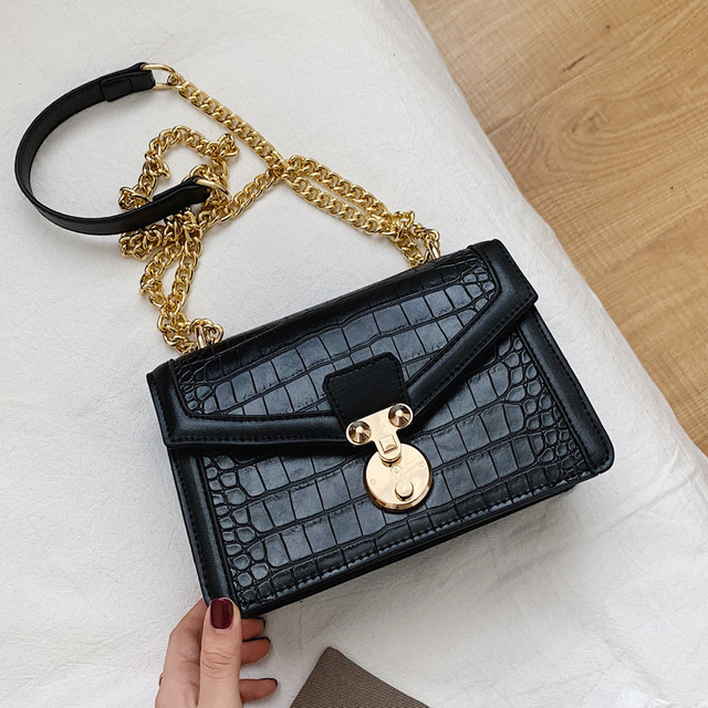 Retro Alligator Bags For Women 2020 Luxury Designer Leather Handbag Girls Casual Chain Shoulder Crossbody Bags Square Flap Bag