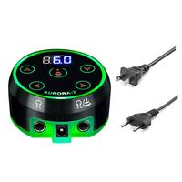 Pro Mini LCD Tattoo Power Supply with Power Adaptor Used for Pedals 1/4 Monophonic Jack Input Mode of Rotary Tattoo Machines