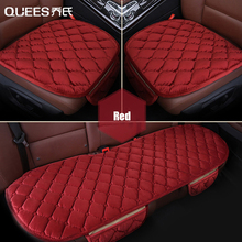 QUEES 3pcs Short Plush Car Seat Cover Winter Auto Seat Protection Cushion Multifunctional Warm Cushion Interior Car Accessories