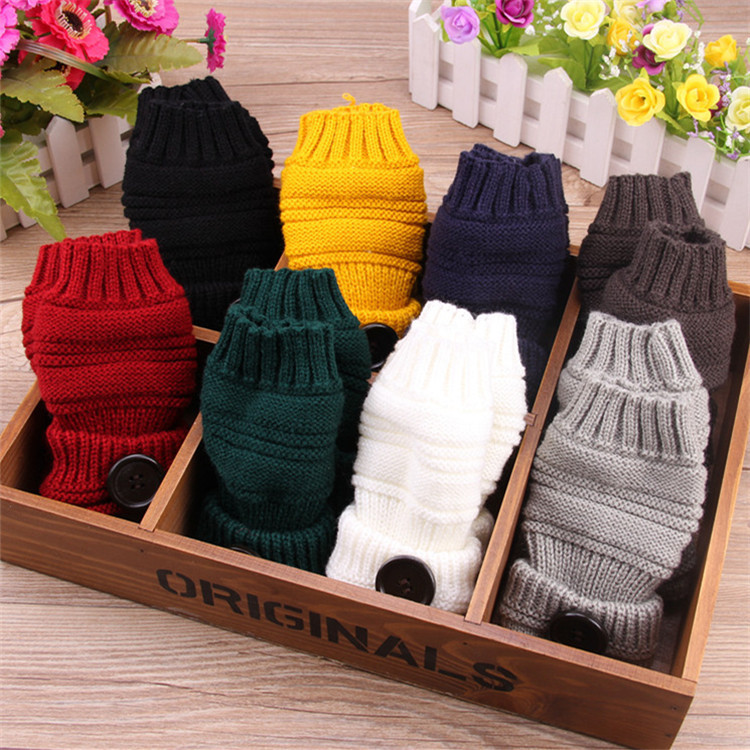 Button Gloves In Autumn And Winter Women Riding Half Finger Touch Screen Sleeve Wool Knitting Warm Winter Couple