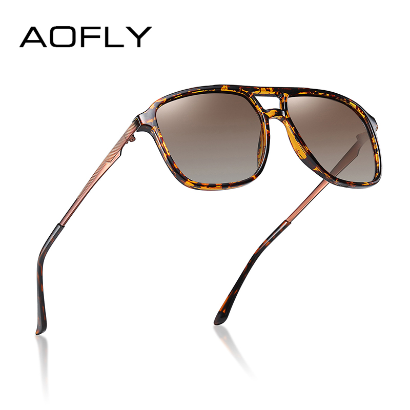 AOFLY DESIGN Square Polarized Mirror Sunglasses Men Women Vintage Driving Night Vision Sun Glasses Male Zonnebril Heren UV400