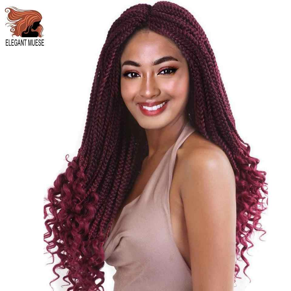 ELEGANT MUSES 24Inch Crochet Hair Box Braids Ombre Synthetic Hair 22 Strands/package Braiding Hair Extensions