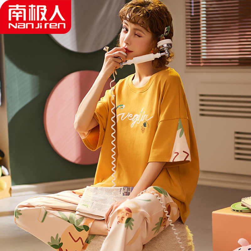 여성 여름 잠옷 코튼 반팔 바지 투피스 양복 얇은 홈 서비스 겉옷 입욕 잠옷