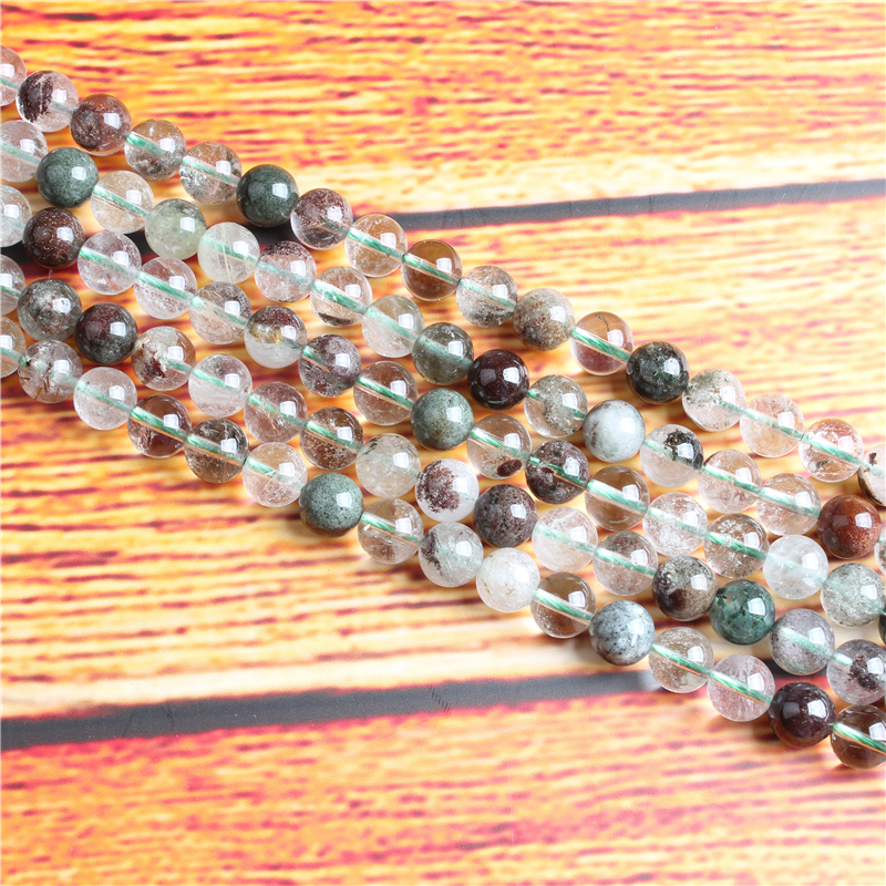 Green Ghost Natural Stone Bead Round Loose Spaced Beads 15 Inch Strand 4/6/8 / 10mm For Jewelry Making DIY Bracelet Necklace