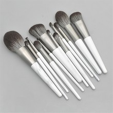 OutTop макияж кисти 12 шт. основа для бровей подводка для глаз коническая деревянная ручка пудра кисти белый/серый Профессиональный Aug27