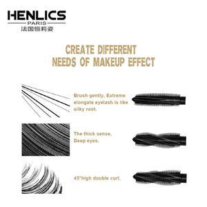 HENLICS тушь для ресниц Водонепроницаемая 4D шелковое скручивание волокон увеличение объема ресниц Толстая Удлинение 300 градусов регулируемая кисть Rimel