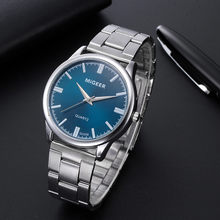 Часы наручные кварцевые для мужчин и женщин, люксовые Модные Аналоговые, с кристаллами из нержавеющей стали