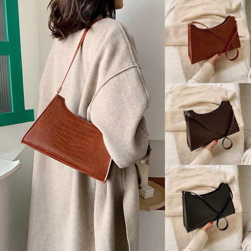 Saco de crocodilo feminino luxo designer sacos de ombro senhoras couro plutônio pedra bolsa retro baguette sacos ombro
