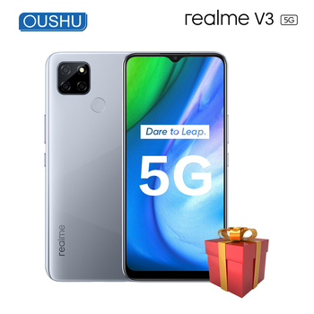 Перейти на Алиэкспресс и купить Оригинальный realme v3 5G мобильного телефона 6 г 128 5000 мА/ч, Батарея 18 Вт 13MP тройной задней Камера 6,5 ''большой Экран MediaTek 720 Смартфон