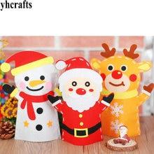 Elk Hand-Puppets Fabric Felt Educational Diy Crafts-Kits Santa-Snowman Kindergarten Xmas
