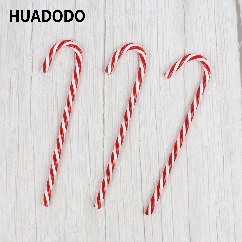 HUADODO 6Pcs/Lot Candy Crutch Christmas Tree Decoration Hanging Pendants Ornaments For New Year Xmas Party Home Decor Kids toys