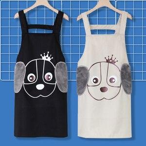 Delantal con bonito diseño de perro de dibujos animados para mujer, delantal de cocina para el hogar, toallitas laterales, impermeable y a prueba de aceite, delantal de bolsillo, herramienta de cocina