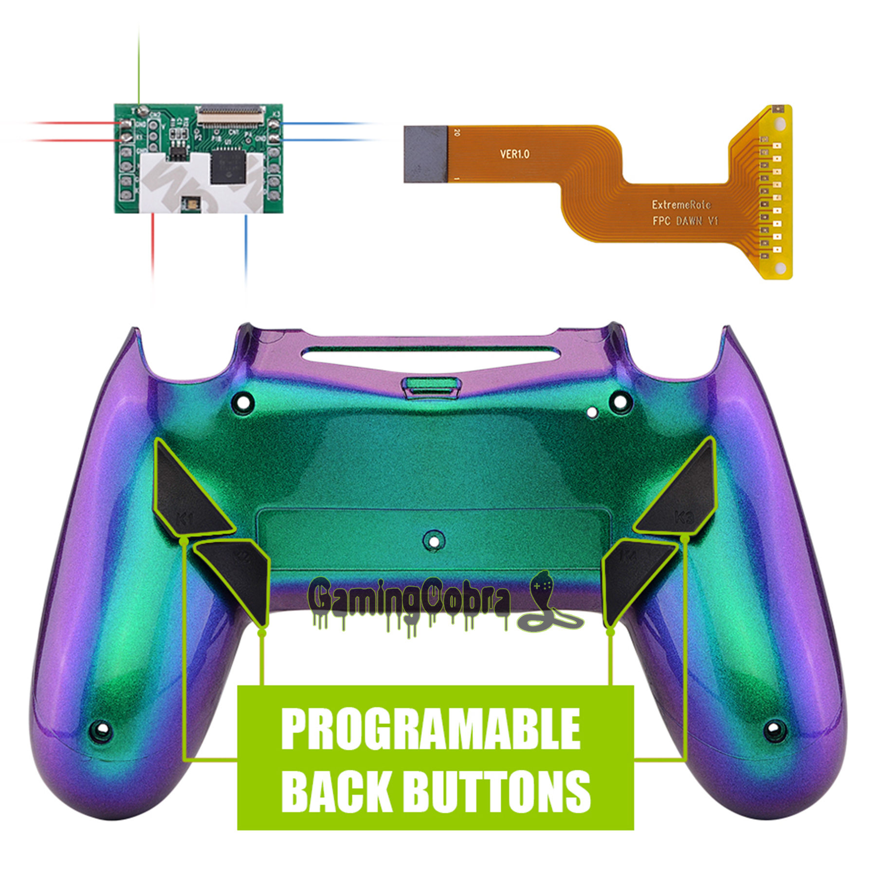 Chameleon Green Purple Dawn Programable Remap Kit For PS4 Slim Pro Controller JDM 040/050/055 W/ Back Shell & 4 Back Buttons
