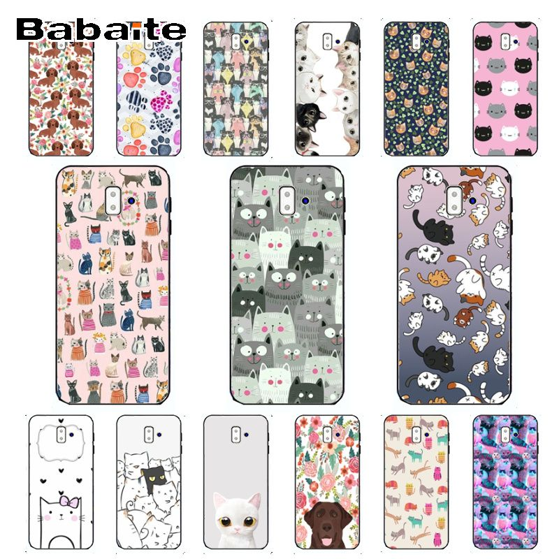 <font><b>Kawaii</b></font> lovely Cat Colorful Cute <font><b>Phone</b></font> Accessories <font><b>Case</b></font> For samsung Galaxy j6 plus A6 A8 A9 A10 A30 A50 Mobile <font><b>Cases</b></font> image