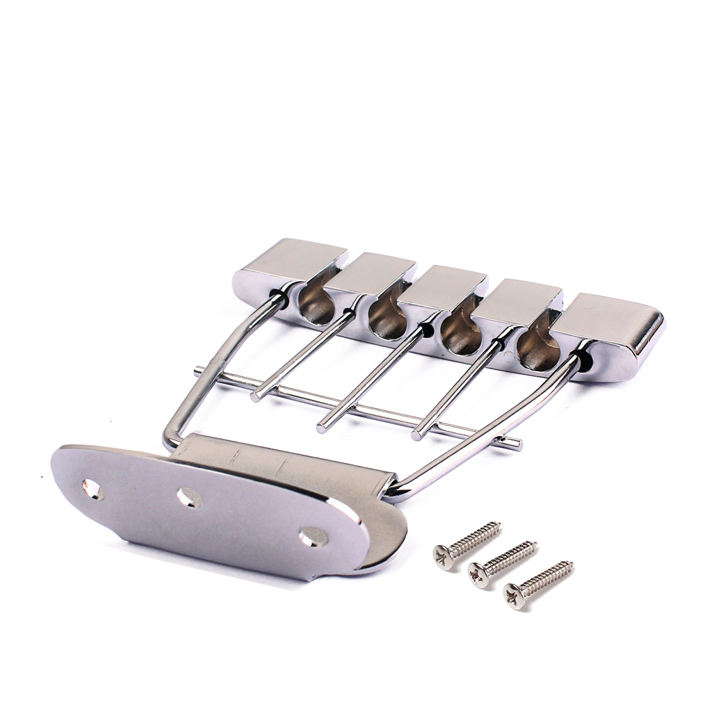 HEAVY DUTY CHROME 4 STRINGS BASS GUITAR TAILPIECE BRIDGE