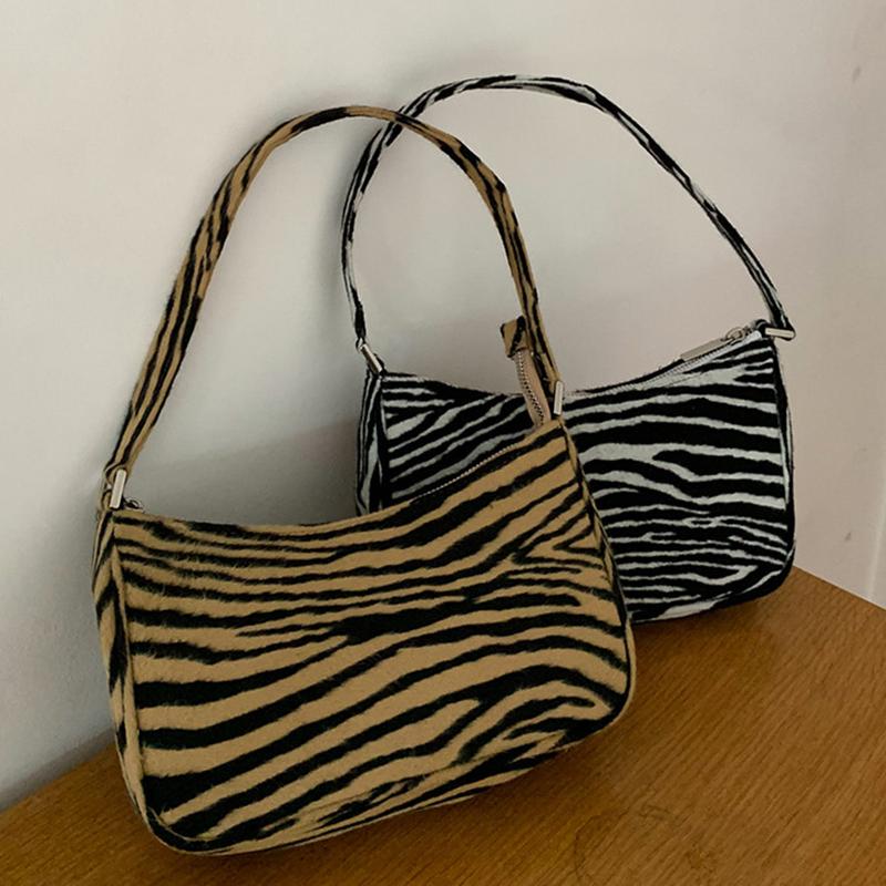 Bolso de hombro Retro para mujer 2020, bolso de mensajero femenino con estampado de cebra de terciopelo, bolso bandolera con cremallera, bolso principal para mujer