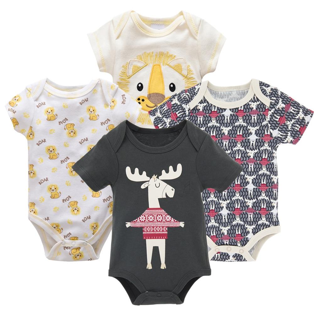 Honeyzone Пижама для младенцев 4 шт./компл. короткий рукав новорожденных Пижама для маленьких мальчиков/младенцев Одежда для маленьких мальчиков bossa nova - Цвет: HY21642170