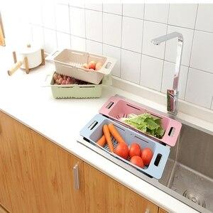 Image 3 - Регулируемая кухонная сушилка для посуды, органайзер, корзина для слива раковины, держатель для овощей, фруктов, стойка для хранения 48*18,5*8 см