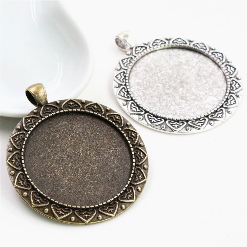 5pcs/lot 35mm Inner Size Antique Bronze And Silver Colors Plated Vintage Baroque Style Cabochon Base Setting Charms Pendant