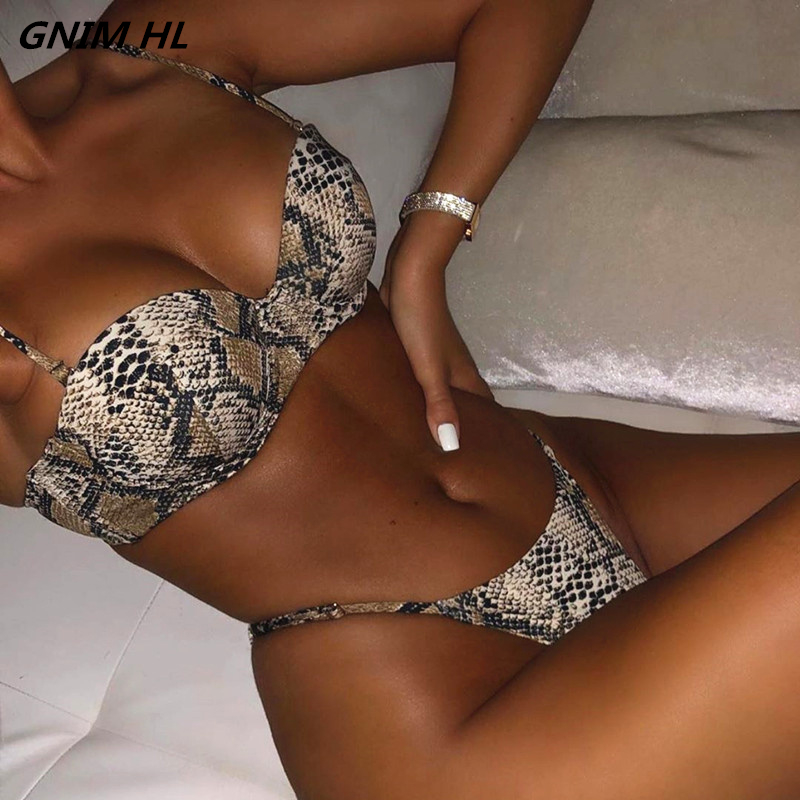 GNIM HL Sexy Push Up Bikini Mujer 2019 Snake Print Swimwear Women Brazilian Thong Bikini Beachwear Bathing Suit Halter Swimsuit