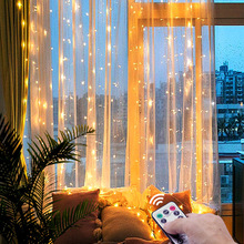3M LED Christmas Fairy String Lights Remote Control USB New Year Garland Curtain Lamp