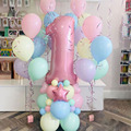 1 Set Macaron Latex Balloons Set Pink 40 inch Number Foil Balloon Baby Shower Decorations Happy Birthday Party Supplies Toys
