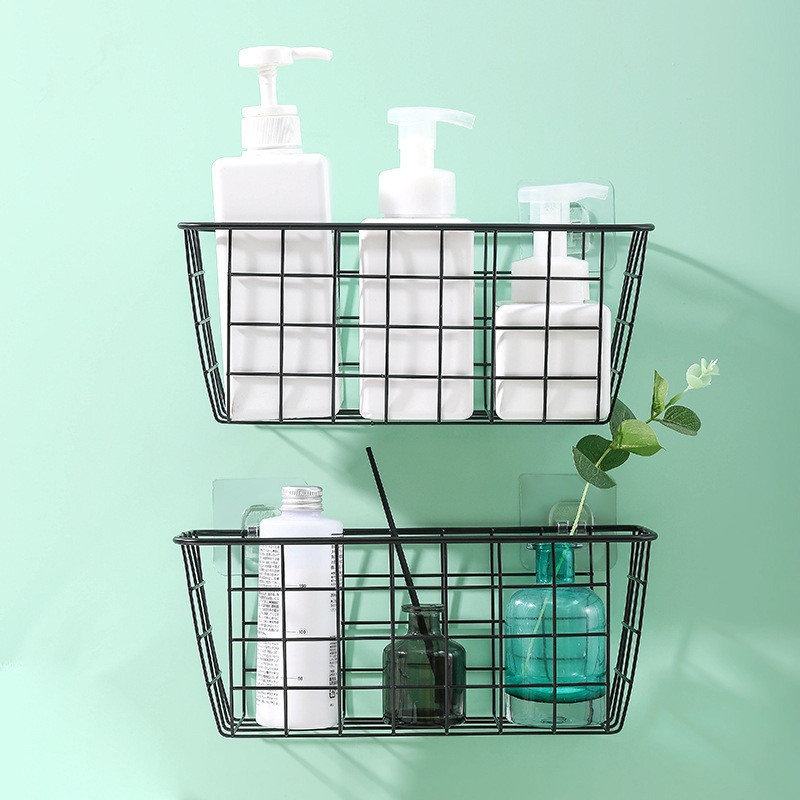 Wrought Iron Wall Shelf Holder Wall Mount Bathroom Shelf Kitchen Hanging Basket Storage Household Wall Hanging Rack Organizer