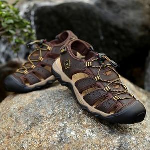 Image 5 - Letnie męskie sandały oryginalne skórzane biznesowe obuwie męskie oddychający design sandały plażowe rzymskie trampki wodne