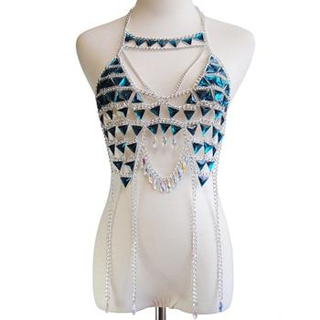 Blue Chain Bra Crystal Silver Chain Tops Women Bikini Wear Sexy Gold Cropped Nightclub Party Festival Wear Burning Man Jewelry