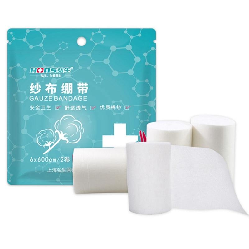2 Rolls/lot 6cmx6m 8cmx6m PBT Elastic Bandage First Aid Kit Gauze Roll Wound Dressing  Nursing Emergency Care Bandage