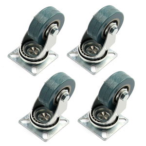 Image 1 - 4 x Heavy Duty 50x17mm Rubber Swivel Castor Wheels Trolley Furniture Caster Brake