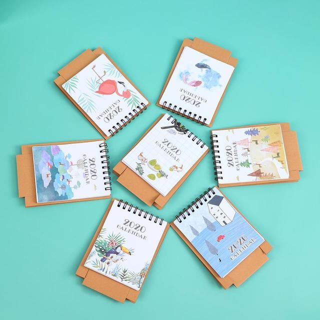 JIANWU 2019 2020 Cute Cartoon animal Mini Desk Calendar School Office planner kawaii agenda table calendar 2