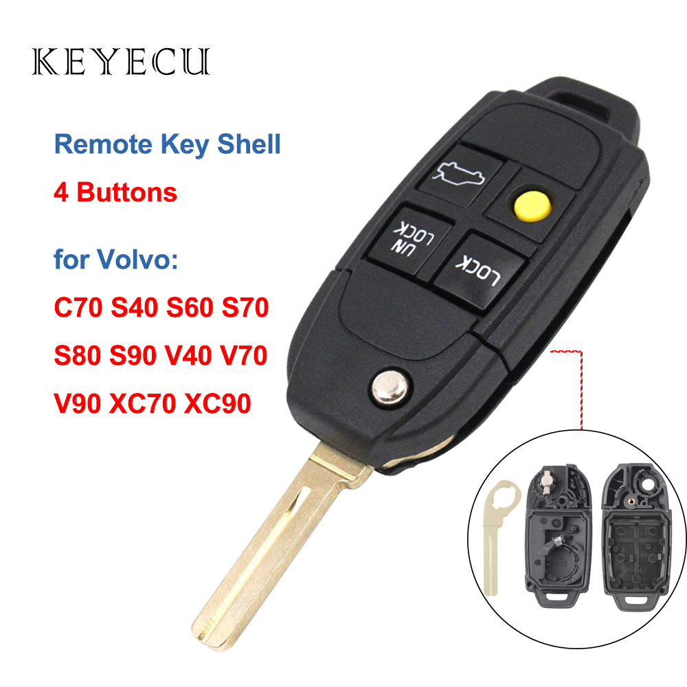 Keyecu Shell Only Remote Car <font><b>Key</b></font> Case Housing Cover 4 Button <font><b>Replacement</b></font> for <font><b>Volvo</b></font> C70 <font><b>S40</b></font> S60 S70 S80 S90 V40 V70 V90 XC70 XC90 image