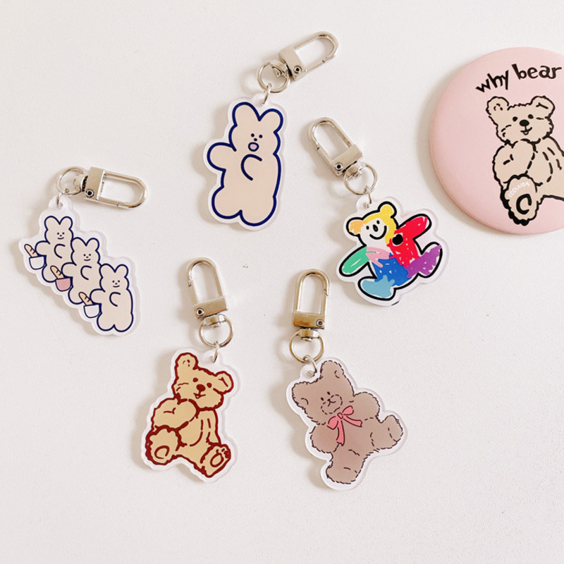 Ins Hot Goods Cute Cartoon Color bear Keychain Key Ring Gift For Women Girls Bag Pendant PVC Charms Key Chains