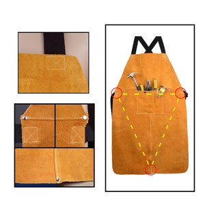 Image 5 - Men Women Safety Clothing Apron Front Pocket Electric Welding Thicken Protective Yellow Adjustable Cowhide Leather Working