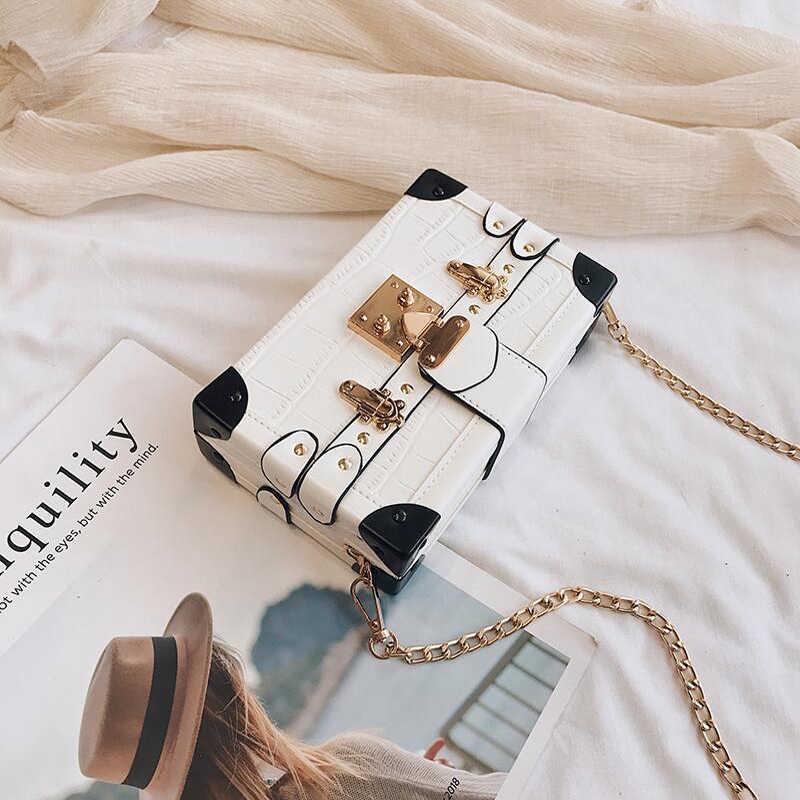 Mode boîte dames sacs à bandoulière Rivets mode femmes sacs de messager petit carré femmes sac 2019 nouveau femmes sacs à bandoulière