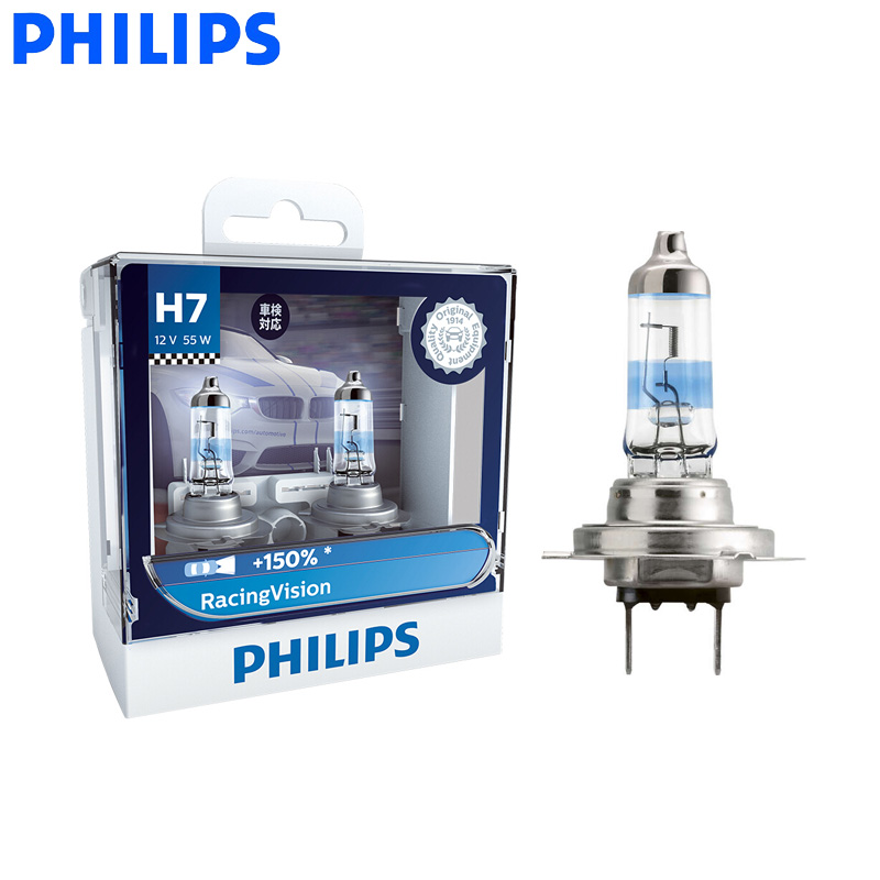 Philips H7 Racing Vision +150% 12V 55W More Bright Car Headlight Auto Halogen Lamp Rally Performance ECE 12972RV S2, Pair