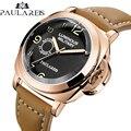 Мужские автоматические механические часы из натуральной кожи 24 мм коричневый кожаный ремешок желтый зеленый светящийся 44 мм Роскошные вое...