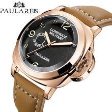 Часы мужские механические с автоподзаводом, Роскошные блестящие в стиле милитари цвета розового золота, 24 мм, с коричневым кожаным ремешком...
